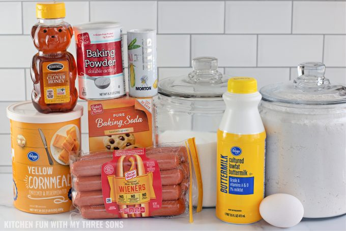 ingredients to make Homemade Corn Dogs