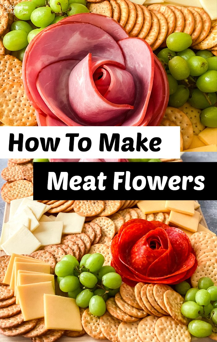 A Meat and Cheese Charcuterie board with meat flowers is such a fun appetizer for any party. This is easy to make but looks super fancy! #charcuterieboards #recipe