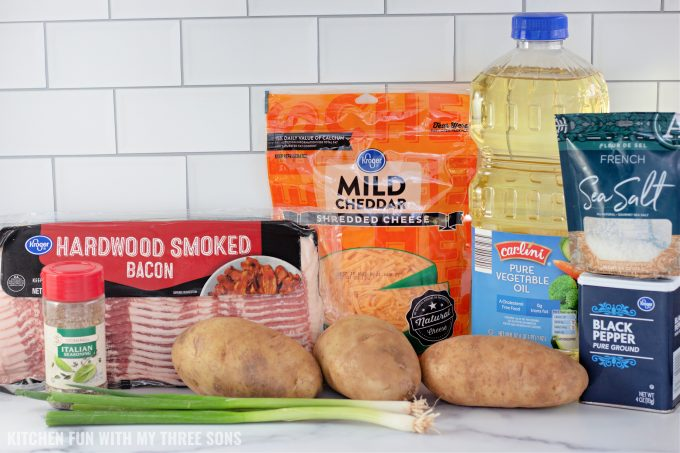 ingredients to make Loaded Sliced Baked Potatoes.