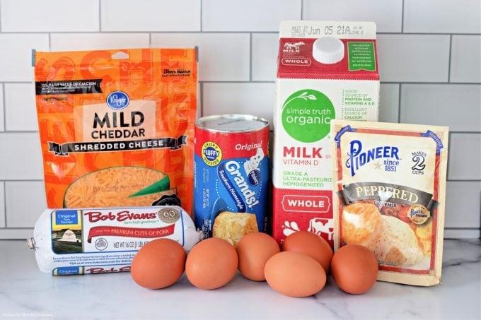 ingredients to make Biscuits and Gravy Breakfast Casserole.