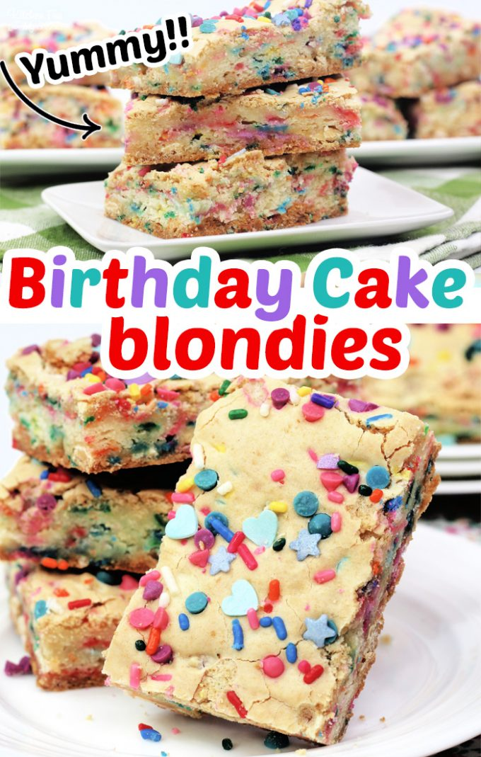 Yummy Cake Batter Blondies full of chocolate chips and sprinkles. Super easy dessert to make and so delicious. #Desserts #Recipe