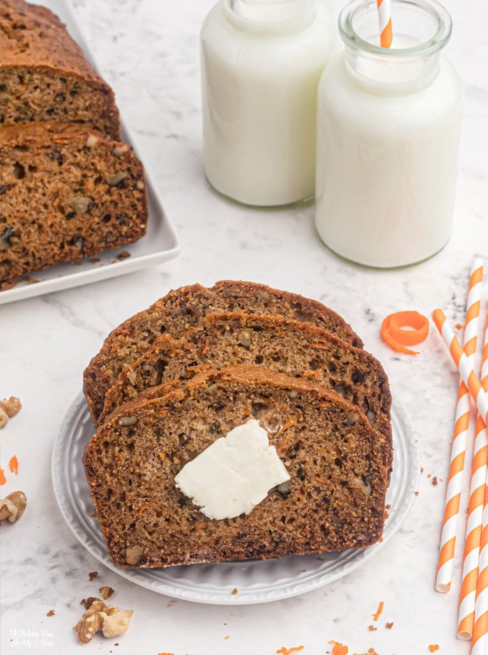 Carrot Bread is a tasty recipe that's similar to carrot cake in bread form. Full of fresh carrots, walnuts, cinnamon and pumpkin pie spice. Great for breakfast or a snack!