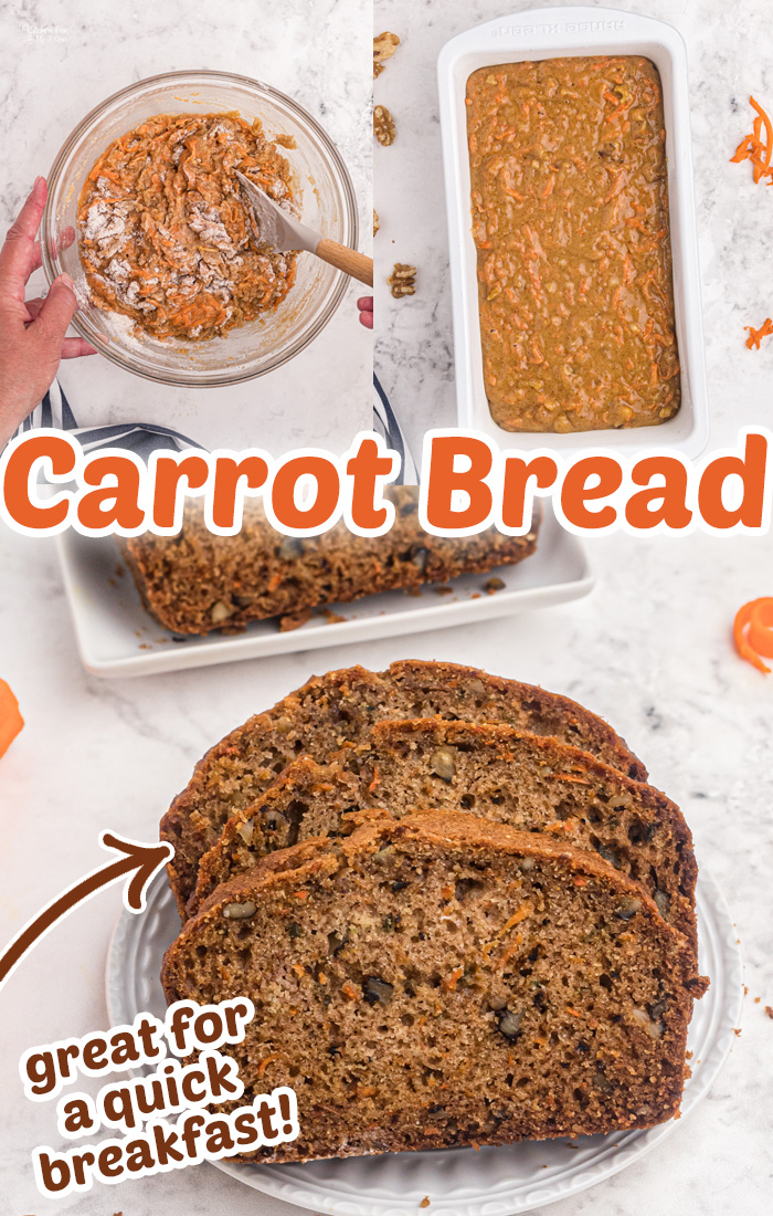 Carrot Bread is a tasty recipe that's similar to carrot cake in bread form. Full of fresh carrots, walnuts, cinnamon and pumpkin pie spice. Great for breakfast or a snack! #Recipes