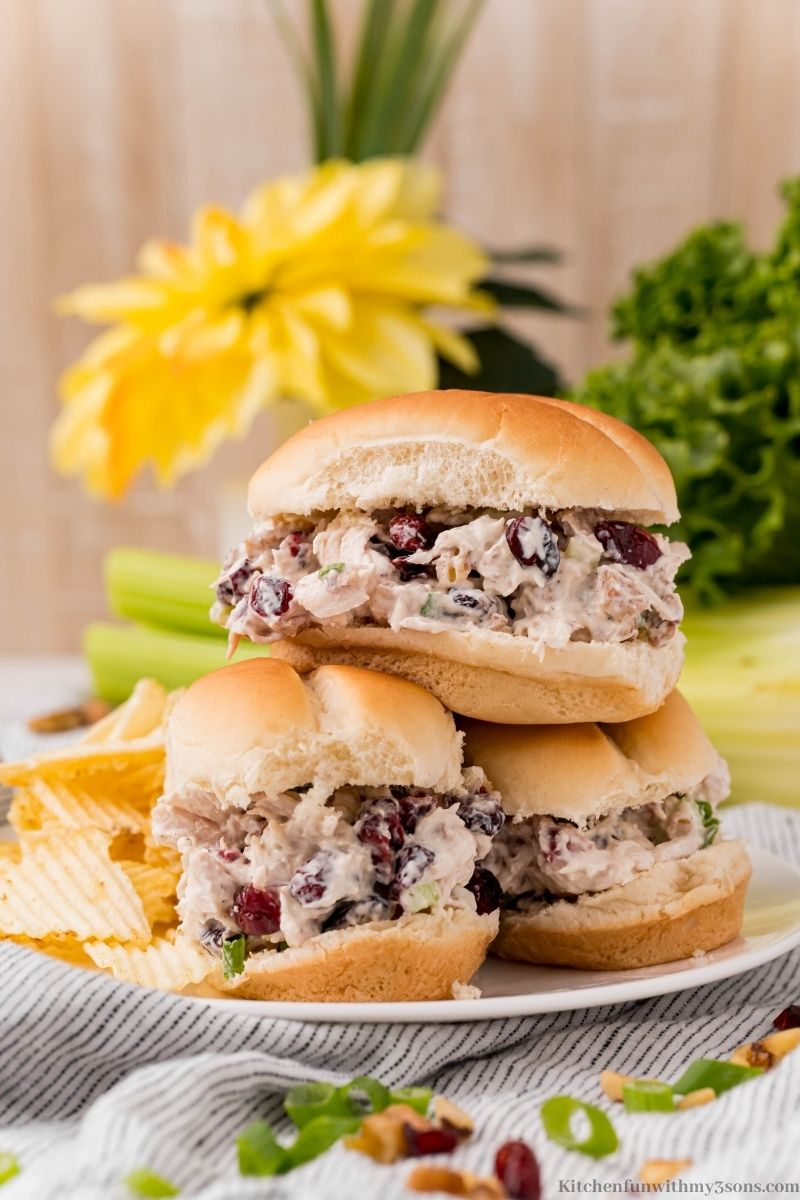 The chicken salad in bread.