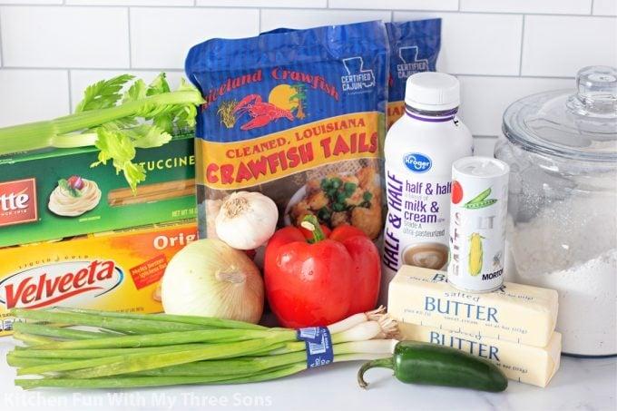 ingredients to make Crawfish Fettuccini.