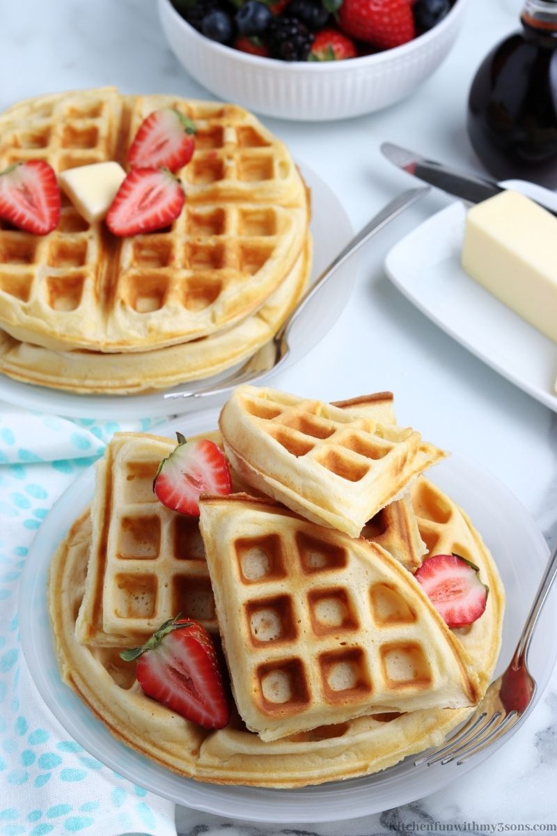 The waffles topped with quarter pieces of waffle.