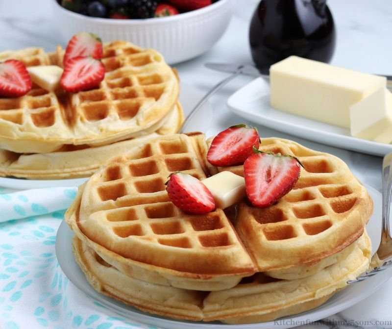 The waffles on a serving plate.