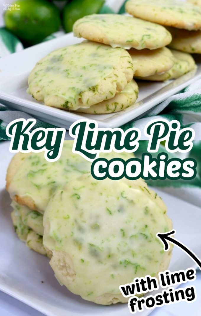 Key Lime Cookies with a homemade lime icing are so yummy and perfect for anyone who loves Key Lime Pie. #Dessert #Recipes #Cookies