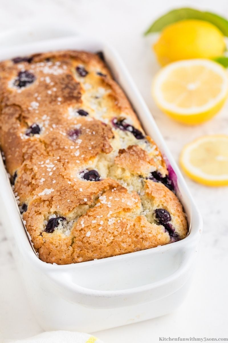The Lemon Blueberry Bread in the loaf pan.