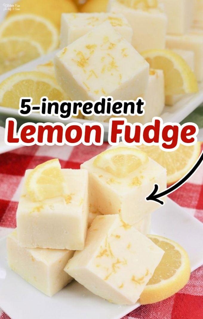 Lemon Fudge is super easy and just five ingredients including real lemon and lemon zest. Lemon Desserts #Recipes #Dessert