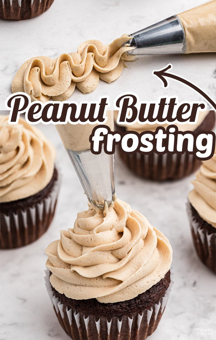 Peanut Butter Frosting is a terrific homemade icing recipe. You can use it to top your favorite chocolate cupcakes, cakes, brownies and more. #Recipes #Dessert