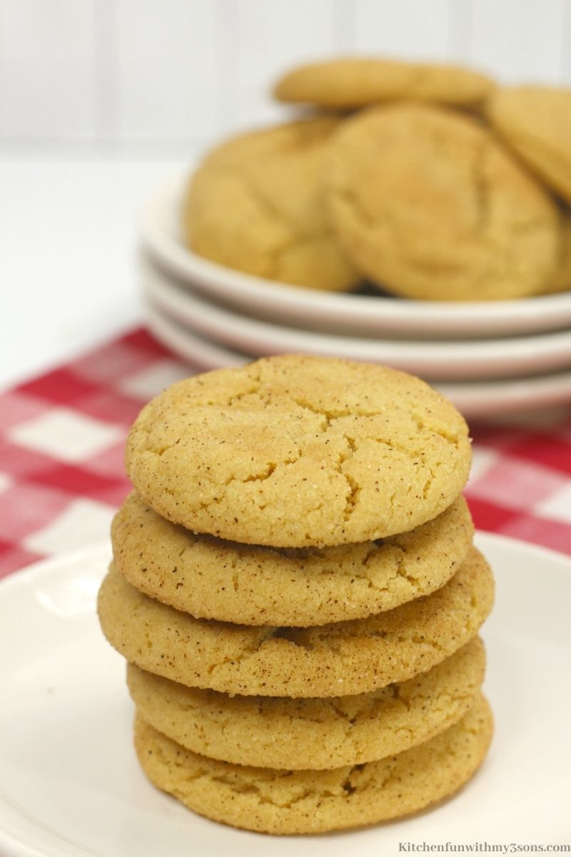 The snickerdoodles stacked on top of each other.