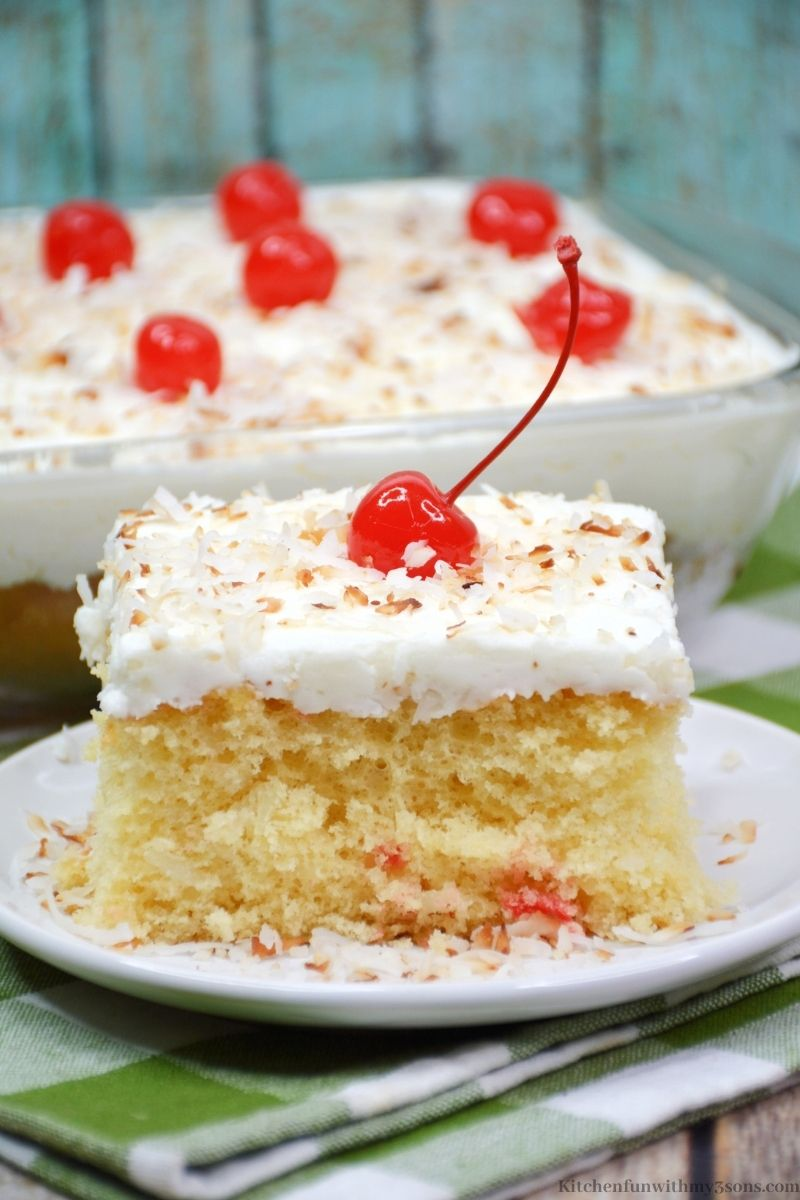 A piece of cake topped with a cherry.