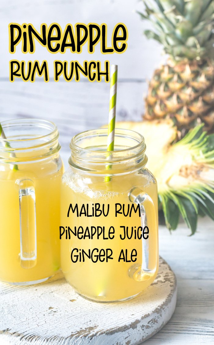 Pineapple Rum Punch is the best new summer cocktail recipe. Just three ingredients and literally seconds to make! #Drinks #Recipes