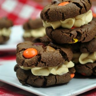 The cookies stacked on top of each other.