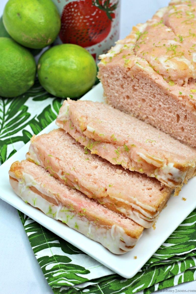 The Margarita Strawberry Bread sliced into pieces.