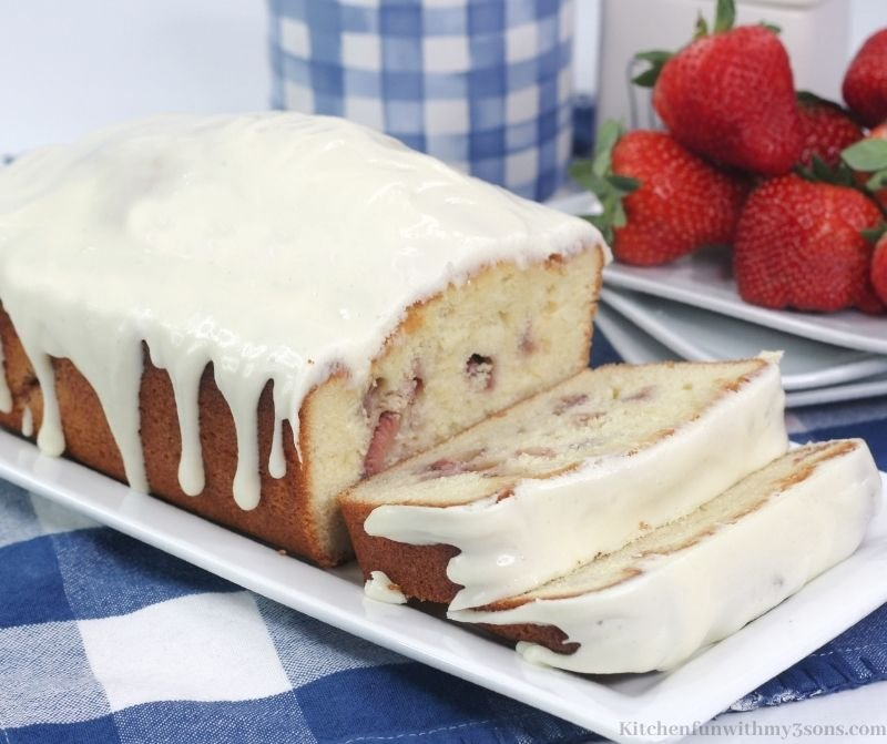 The Strawberry Pound Cake cut into slices.