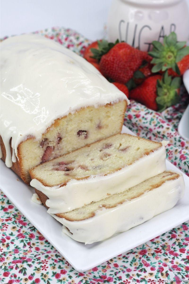 Strawberry Pound Cake on a serving platter.