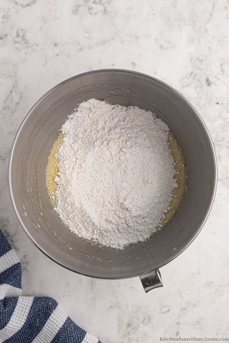 Combining wet and dry ingredients.