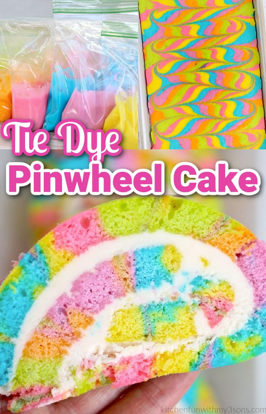 tie dye pinwheel cake