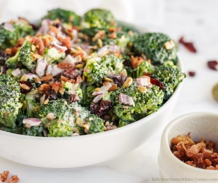 A bowl of the broccoli salad in a serving bowl.