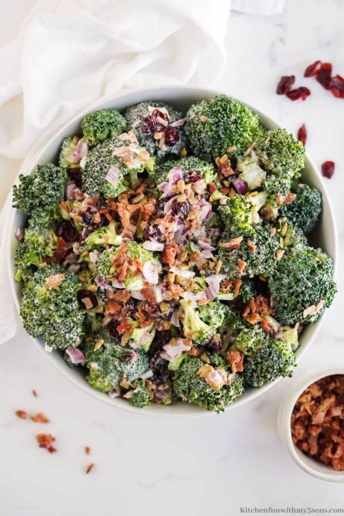 A close up of the broccoli salad.