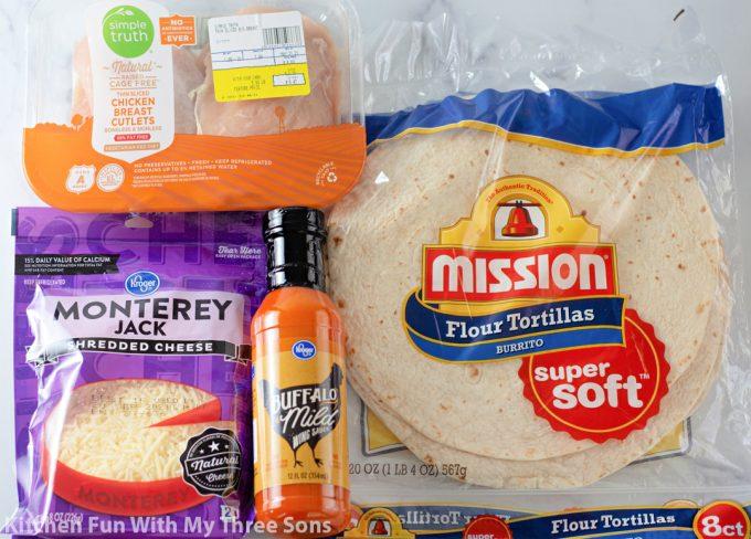 ingredients to make Buffalo Chicken Quesadillas.