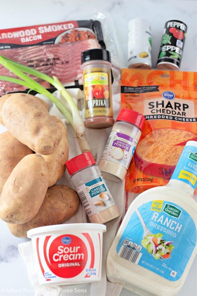 ingredients to make Cheesy Bacon Ranch Potato Bake.