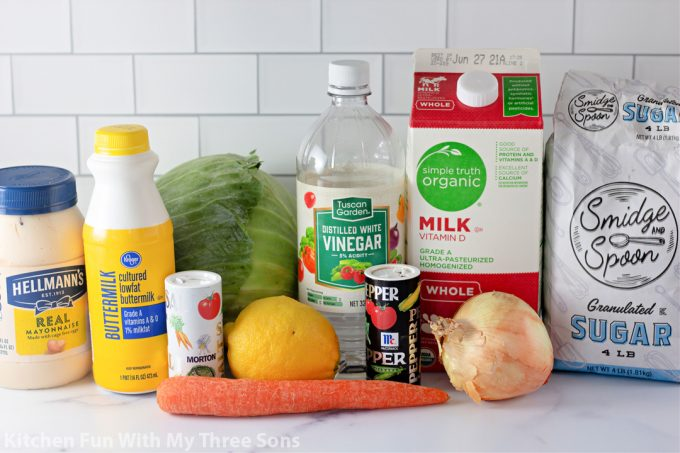 ingredients to make Copycat KFC Coleslaw.