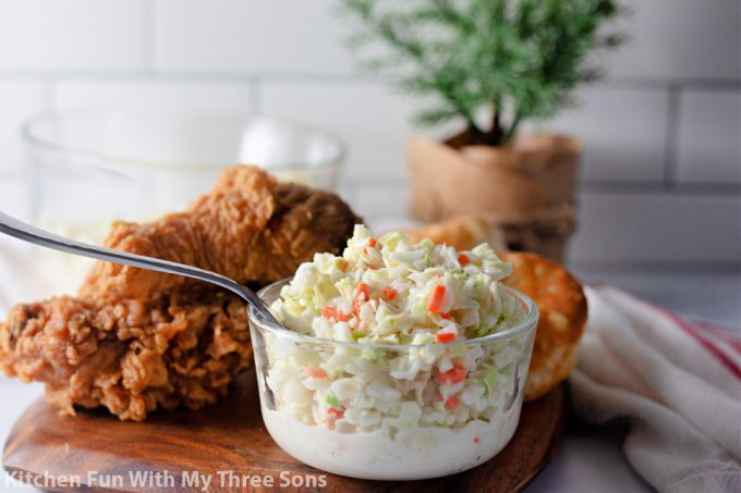 Copycat KFC Coleslaw with fried chicken.