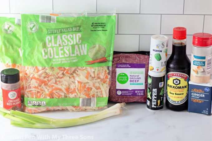 ingredients to make Egg Roll in a Bowl.