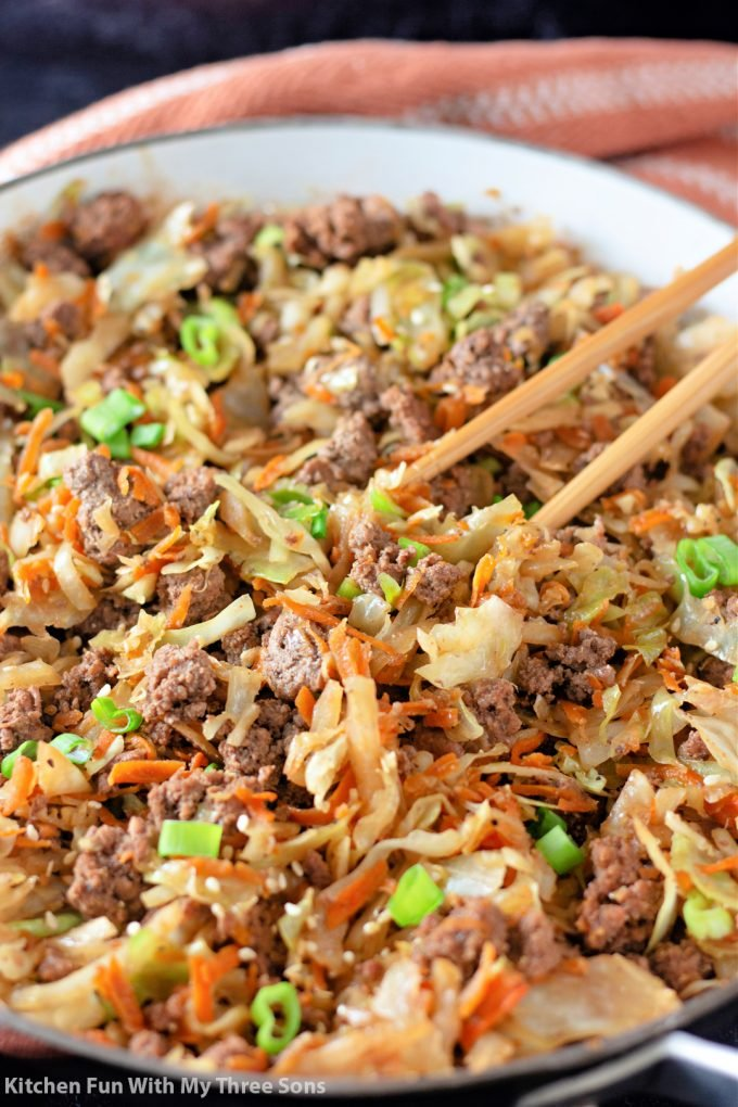 Egg Roll in a Bowl in the pan.