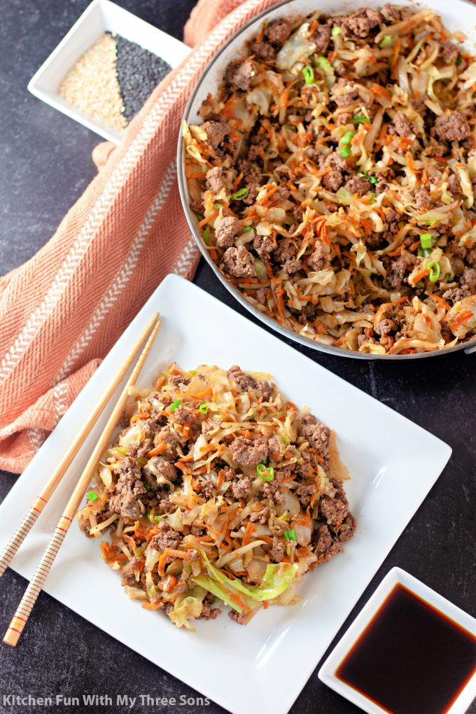 Egg Roll in a Bowl on a plate and in the pan.