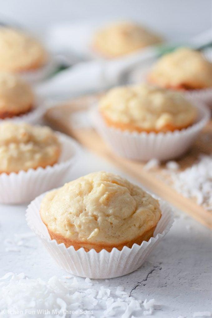Tropical Muffins in a white muffin paper.