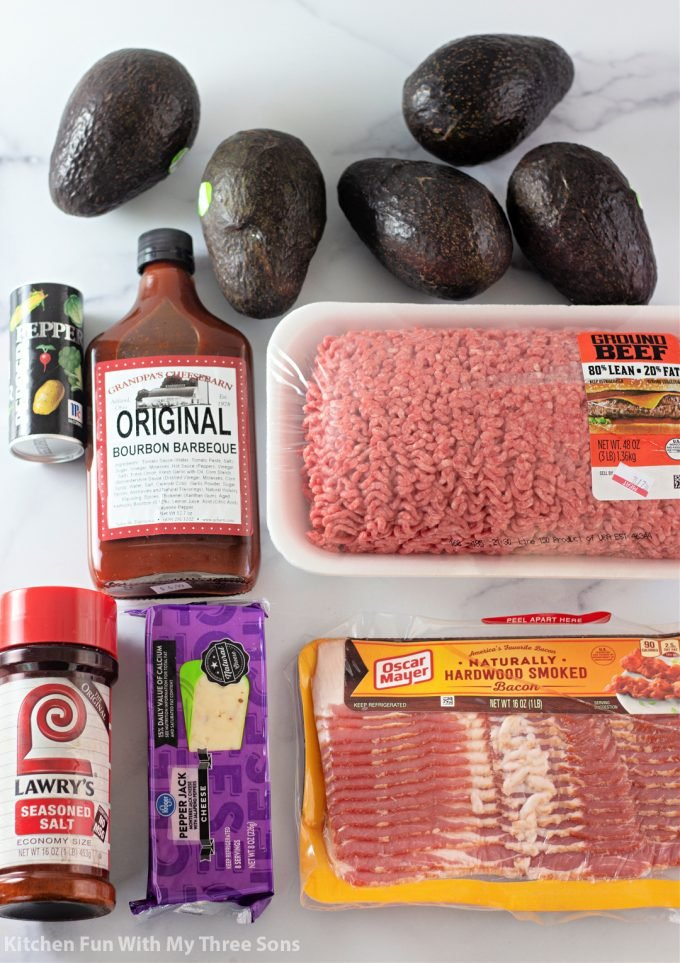 ingredients to make BBQ Bacon Wrapped Stuffed Avocados.