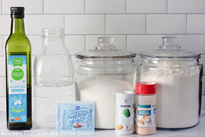 ingredients to make Homemade Pizza Dough.