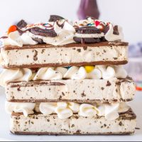 An Ice Cream Sandwich Cake is the perfect Summer dessert with layers of Cookies 'n Cream ice cream sandwiches, Cool Whip & M&M's.