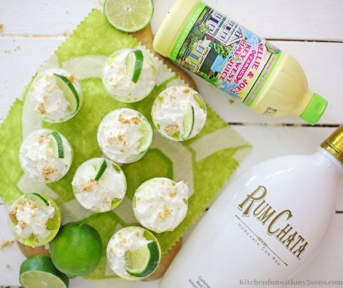 The key lime shooters with the ingredients next to it.