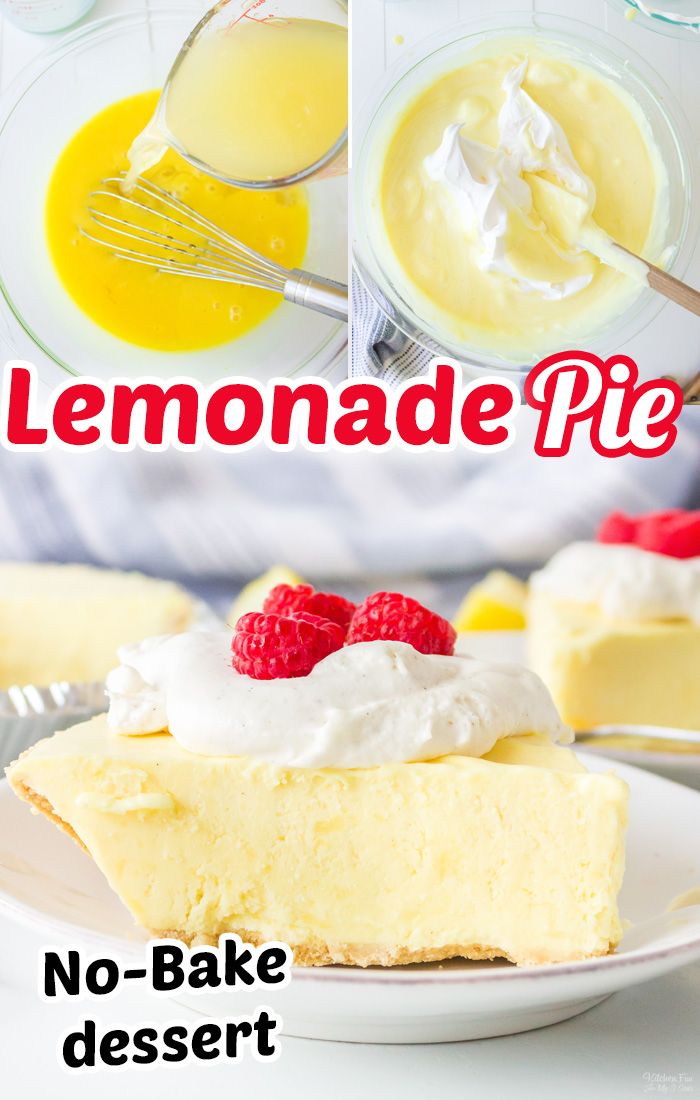 Frozen Lemonade Pie is a yummy no-bake dessert that takes just 10 minutes to prep. It combines frozen lemonade with creamy pudding and Cool Whip on a graham cracker crust. #Dessert #Recipes