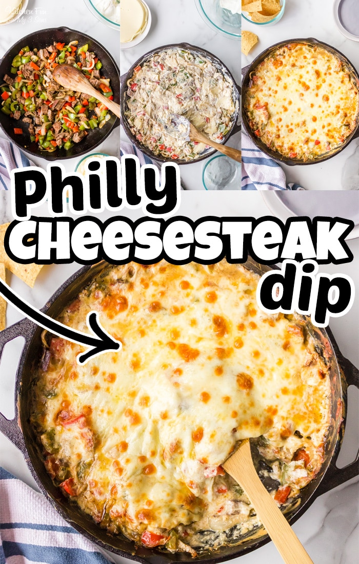 Philly Cheesesteak Dip is inspired by the classic sandwich and turned into a skillet dip with juicy steak, grilled peppers and cheese. #Recipes
