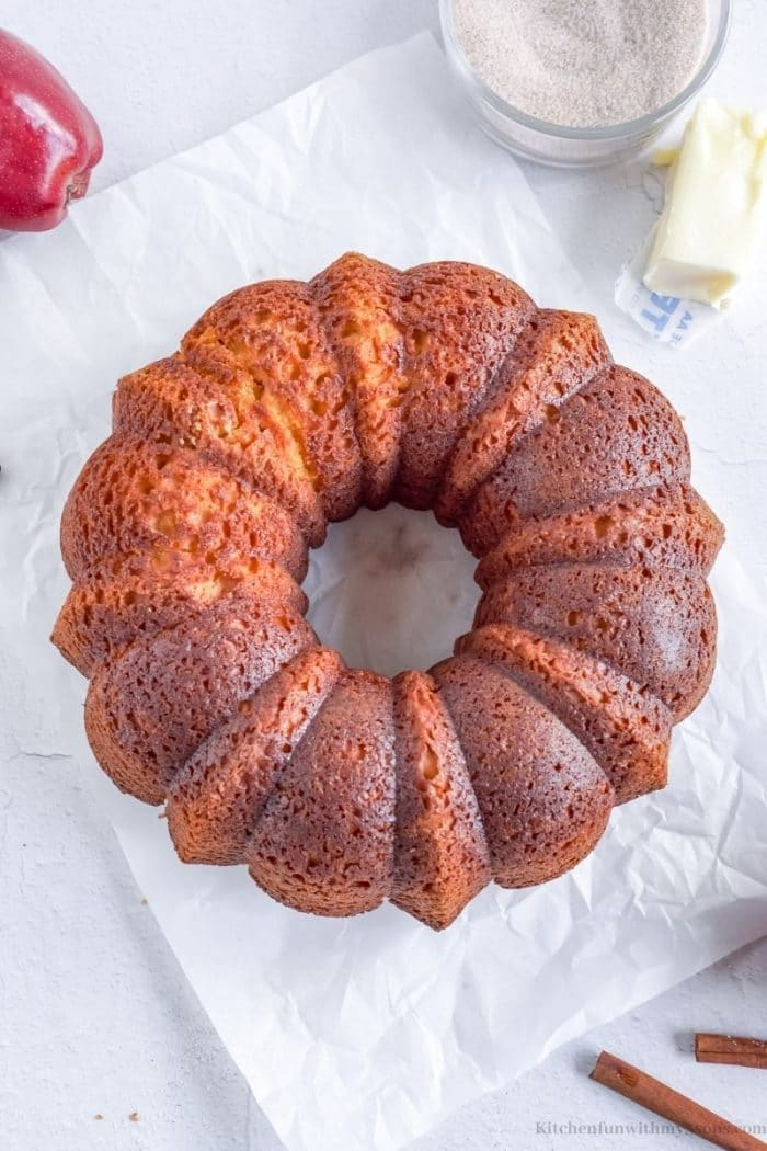 The whole apple cider cake.