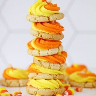 A couple of the cookies stacked on top of each other.