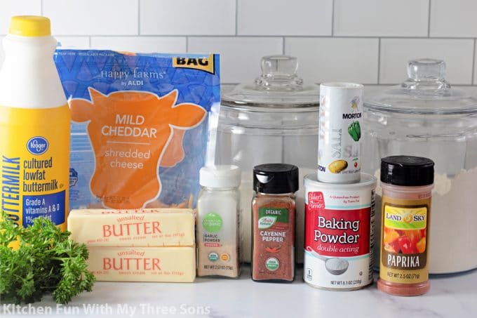 ingredients to make Cheddar Bay Biscuits.