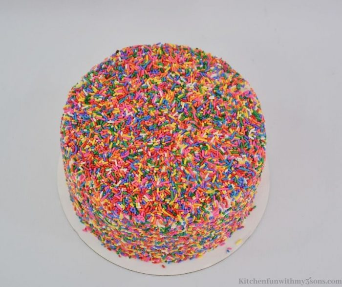 The whole cake covered in sprinkles.