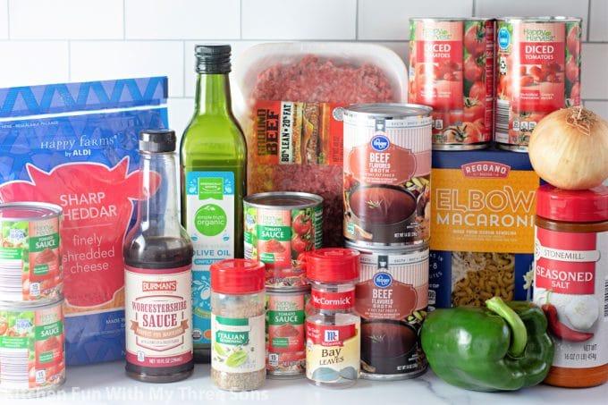 ingredients to make Easy Goulash Recipe.