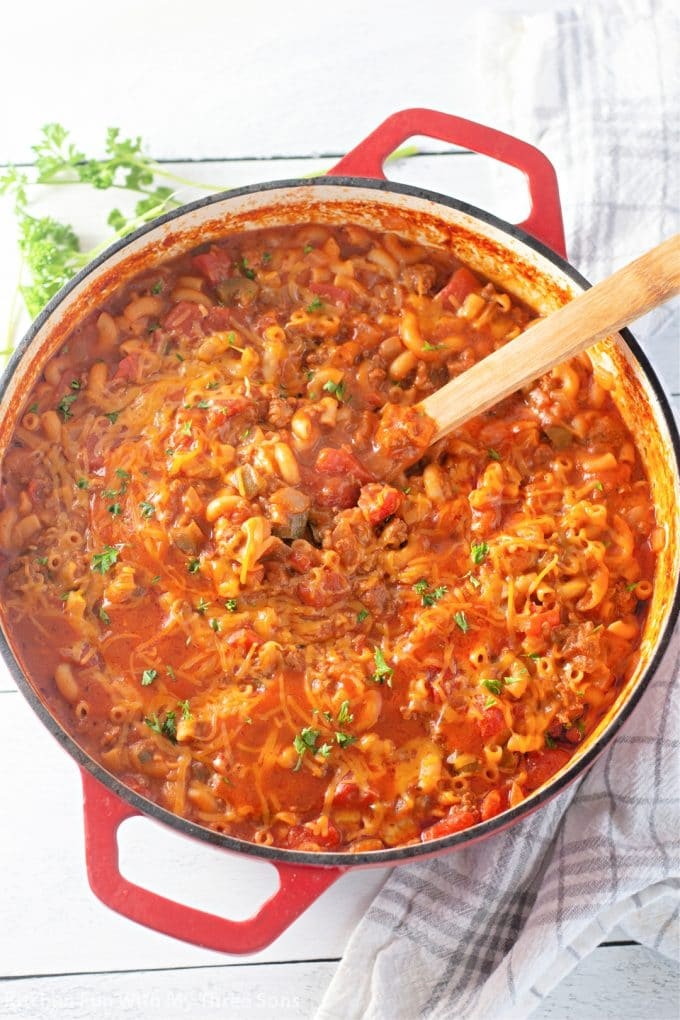 freshly made Easy Goulash Recipe in a red pot.