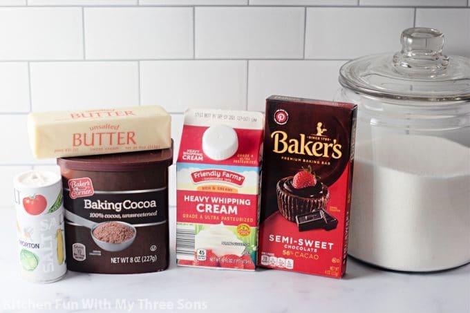 ingredients to make Hot Fudge Sauce Recipe.