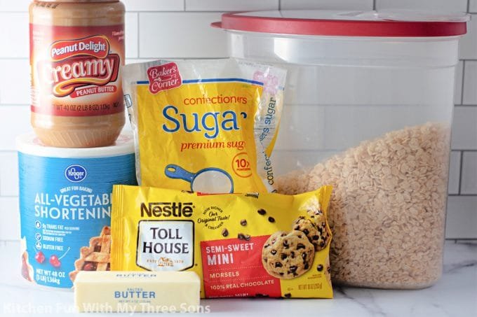 ingredients to make Peanut Butter Balls with Rice Krispies.