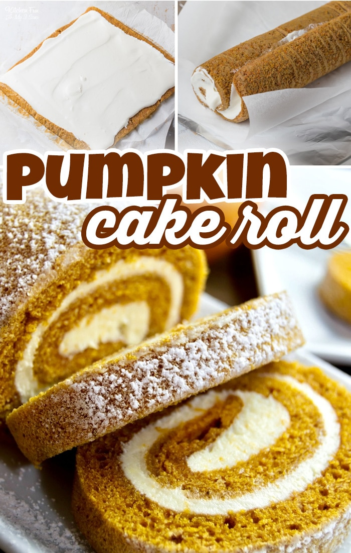 Pumpkin Cake Roll is everyones favorite fall dessert. This moist pumpkin cake is filled with a cream cheese filing and delicious pumpkin spices. #Recipes #Dessert #Pumpkin