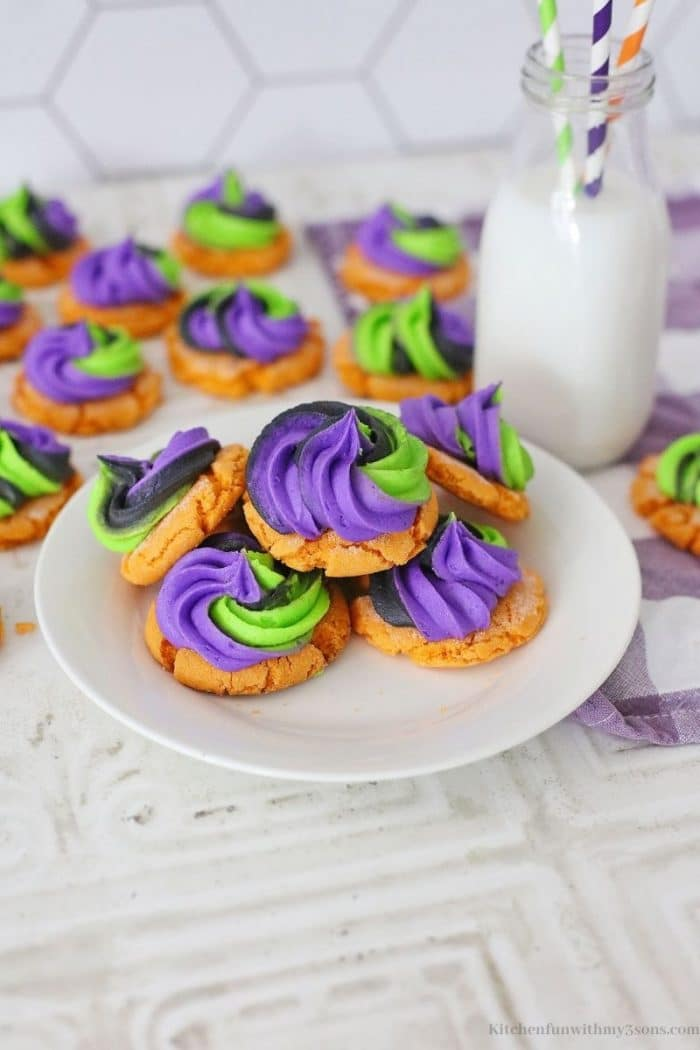 A few of the cookies on a serving plate.